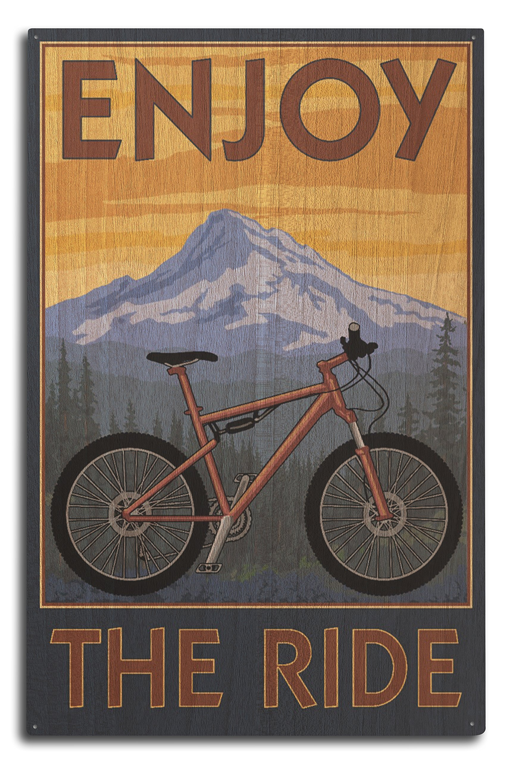 Disfrutar de la Ride – para bicicleta de montaña escena, madera, Multicolor, 10 x 15 Wood Sign: Amazon.es: Hogar