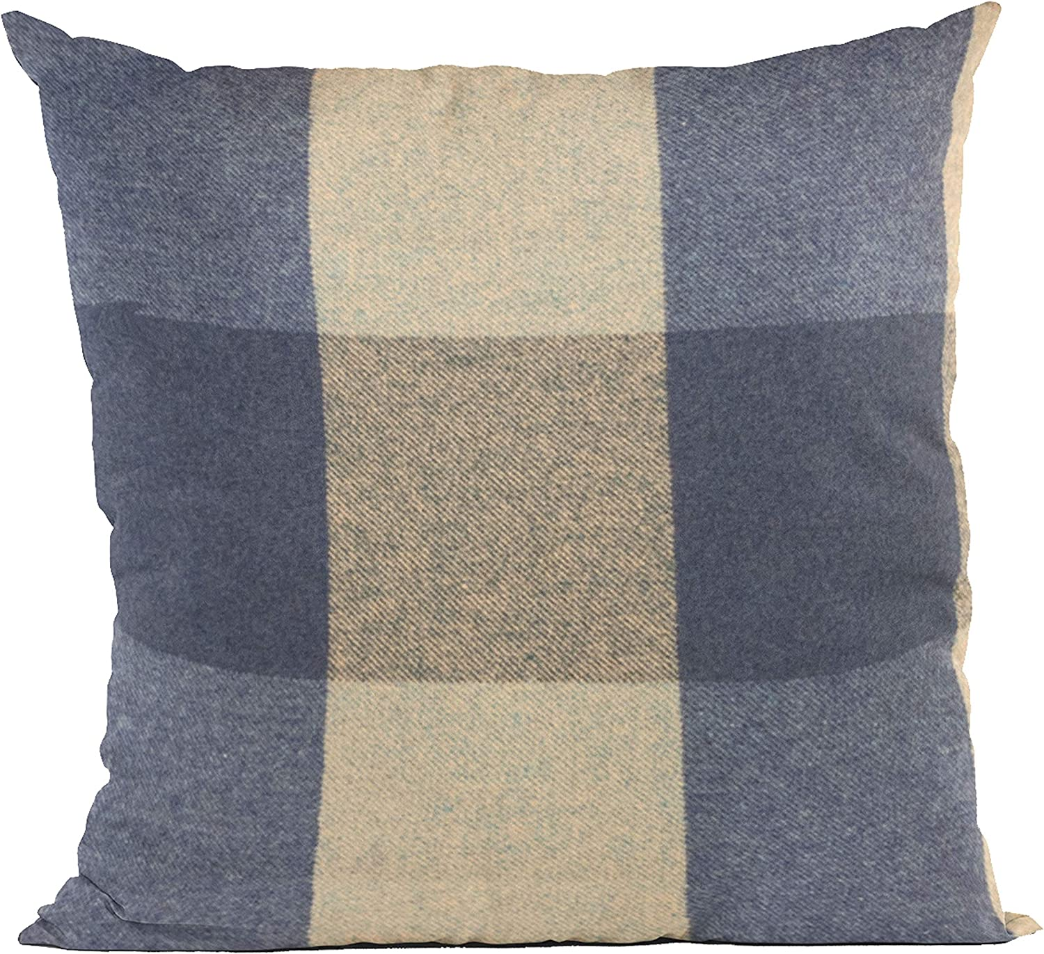 Plutus Brands Blue Squares Plaid Luxury Throw i Pillow 12 specialty shop Direct sale of manufacturer