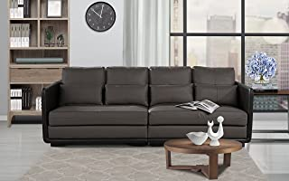 Classic 2 Piece Convertible Living Room Leather Sofa, Adjustable Couch (Grey)