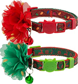 CHERPET Christmas Cat Collar with Bell - Breakaway Adjustable Safety Santa Claus & Tree/Snowman & Tree - Elk/Flowers Perso...