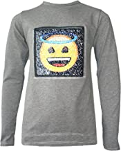 Kids Emoji Emoticon Smile Angel Devil Face Tee Tops Brush Changing Sequin Age 3-14 Years