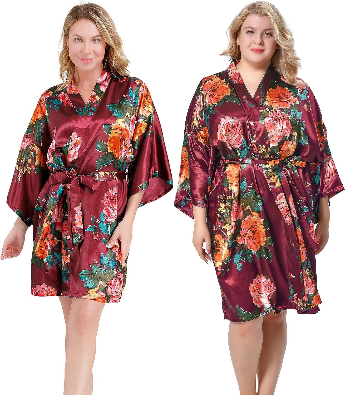 ALHAVONE Women's Rose Flowers Silky Satin Short Kimono Robe for