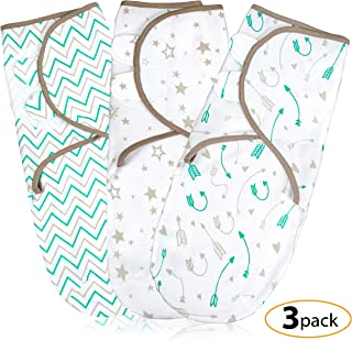 Baby Swaddle Wrap Blanket for Newborn & Infant | 0-3 Month Swaddlers Sleep Sack with Adjustable Wings | 3 Pack Breathable Wrap Sack for Boy & Girl (Aqua)