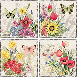 CounterArt Set of 4 Assorted Tumbled Tile Coasters, Butterfly Florals