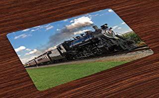 Ambesonne Steam Engine Place Mats Set of 4, Vintage Locomotive in Countryside Scenery Green Grass Puff Train Picture, Washable Fabric Placemats for Dining Room Kitchen Table Decor, Blue Green