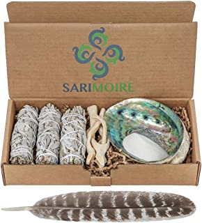 Sage Smudge Kit – White Sage Smudge Sticks – 4in ~ Abalone Shell 5-6in ~ 2in..