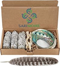 Sarimoire Sage Smudge Kit - White Sage Smudge Sticks - 4In ~ Abalone Shell 5-6In ~ 2In Tripod Stand ~ 10-12In Feather and ...