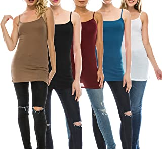 151607ecdd Nolabel Multi Pack Womens Basic Long Length Adjustable Spaghetti Strap Cami  Tank Top Camisole Plus (