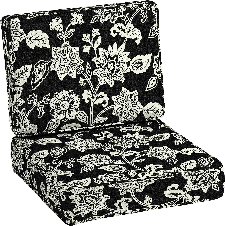 Arden Selections ProFoam Essentials 24 x 24 x 6 Inch Outdoor Deep Seat Cushion Set, Ashland Black Jacobean