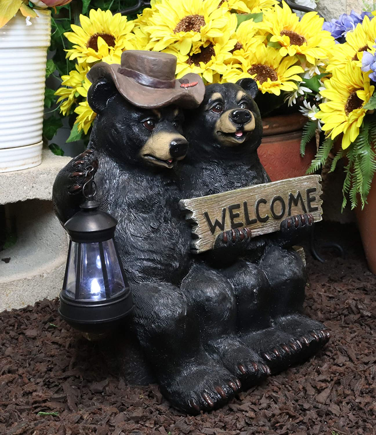 Ebros Summer Love SALENEW very popular Rustic Forest Black Ranking TOP4 Park Bear by Couple Bench
