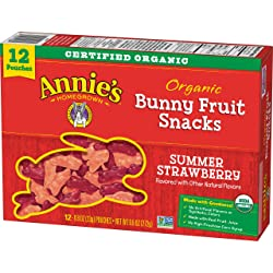 Annie's Homegrown Organic Bunny Fruit Snacks Summer Strawberry, 12 Count
