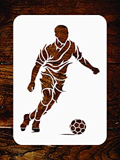 Soccer Stencil - 4.5 x 6 inch - Reusable Football Player Sport Wall Stencil Template - Use on Paper Projects Scrapbook Journal Walls Floors Fabric Furniture Glass Wood etc.