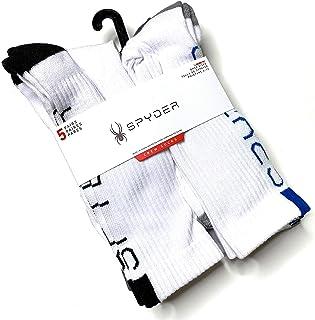 Spyder Absorb Tek Crew Socks 5 Pair Men/'s Sz 6-12 Black white//silver Spyder Logo