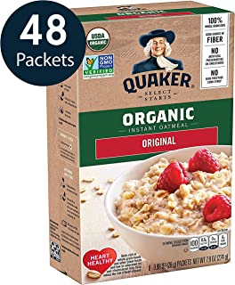 Quaker Instant Oatmeal, USDA Organic, Non-GMO Project Verified, Original, Individual Packets, 48 Count