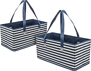 Planet E Reusable Grocery Shopping Bags – Trunk Size Extra Large Collapsible Boxes with Reinforced Bottoms Made of Recycled Plastic (Pack of 2)