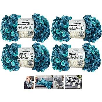 Alize Bernat EZ Blanket Yarn Bundle 100% Polyester (Seaport Teals, 4-Pack)