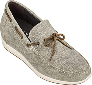 CALTO Men's Invisible Height Increasing Elevator Shoes - Denim Slip-on Lightweight Casual Loafers - 2.4 Inches Taller