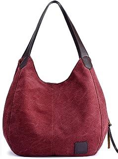 DCCN Canvas Tasche Damen Shopper Bag Handtasche Hobo Bag Weinrot
