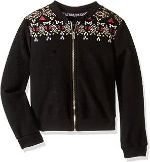Girls' Big' Zip Up Sweater with Novetly Print Yoke with Mock Neck