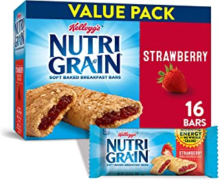 Kellogg's Nutri-Grain Soft Baked Strawberry Breakfast Bars - School Lunchbox Snacks, Individual Wrapped Bars, 16 Count (Pack of 3)