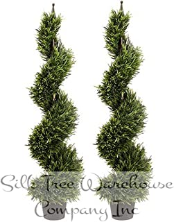 Silk Tree Warehouse Company Inc Two 4 Foot Outdoor Artificial Rosemary Spiral Topiary Trees UV Rated Plants