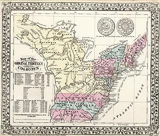 VintPrint Map Poster - Map of The Original Thirteen Colonies - 24