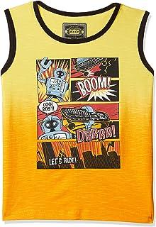 Gini & Jony Baby Boy's Plain Regular fit T-Shirt (121246520159 C317_Blazing Yellow 18M | 12-18 Months)