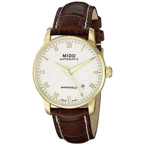 Mido Mens MIDO-M86003268 Baroncelli Analog Display Swiss Automatic Brown Watch