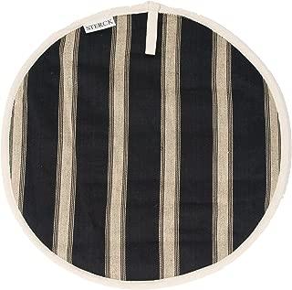 Sterck Cotton Round Striped Mercara Cook Aga Pads in Black and Cream RNDPADMERCBLK