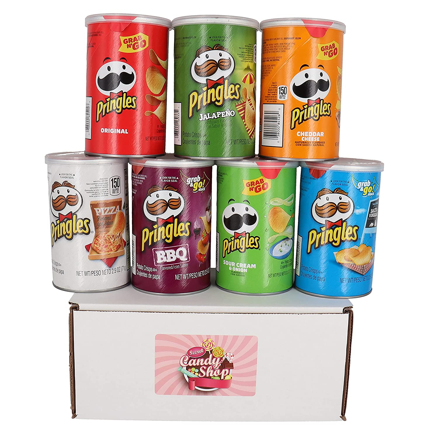 Pringles Potato Chips Variety Pack of 7 Flavors (1 of each, total of 7)
