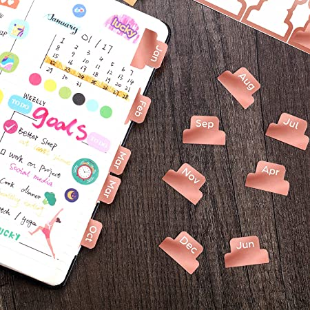 24 Pieces Adhesive Tabs Designer Accessories Monthly Tabs Planner Stickers Decorative Monthly Adhesive Index Colorful Neutral Metallic Marble Pattern for Office Study Planners Organizations