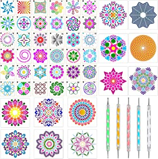 48 Pieces Mandala Templates Stencils Mandala Dot Painting Stencils Mandala Floor Templates with 5 Pieces Double Ended Acrylic Dotting Pens for Rocks Wood Wall Painting Art Projects, Various Sizes