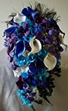 Purple Blue Turquoise Orchid Calla Lily Cascading Bridal Wedding Bouquet & Boutonniere