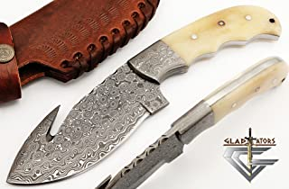 GladiatorsGuild 65- Custom Handmade Damascus Steel Skinner 9 Inch Hunting Knife Fixed Blade Skinning Knife with Gut Hook with Sheath