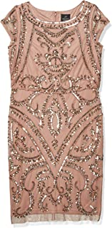 Women's Beaded Blouson Sheath Dress