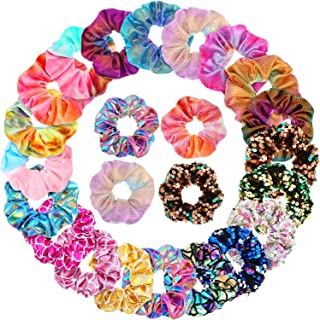 20 Pieces Shiny Metallic Hair Scrunchies Sequins Rainbow Hair Ties Ropes Mermaid Elastic Hair Bands Scrunchy Colors Ponytail Holder Hair Accessories for Women Girls Favors