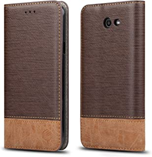 for Galaxy J7 Case,WenBelle [Blazers Series] Stand Feature,Double Layer Shock Absorbing Premium Soft PU Color Matching Leather Wallet Cover Flip Cases for Samsung Galaxy J7(2017)(Brown)
