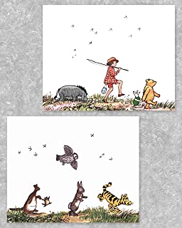 Classic Winnie the Pooh Art Prints (Baby Wall Prints, Boy Girl Room Decor)