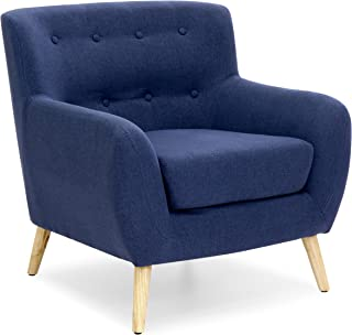 Best Choice Products Linen Upholstered Modern Mid-Century Tufted Accent Chair for Living Room, Bedroom, Dark Blue