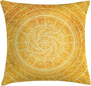 Ambesonne Yellow Mandala Throw Pillow Cushion Cover by, Vintage Lace Style Authentic Circles Sun Inspired Cosmic Blossom Moroccan, Decorative Square Accent Pillow Case, 18 X 18 Inches, Yellow Orange
