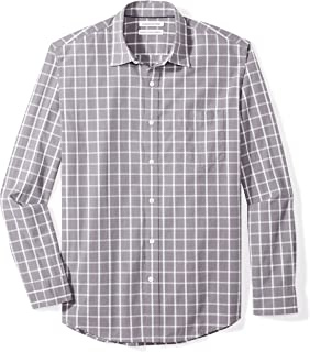 Men's Regular-Fit Long-Sleeve Plaid Casual Poplin Shirt
