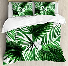 Ambesonne Palm Leaf Duvet Cover Set, Realistic Vivid Leaves of Palm Tree Growth Ecology Lush Botany Themed Print, Decorative 3 Piece Bedding Set with 2 Pillow Shams, Queen Size, Fern Green