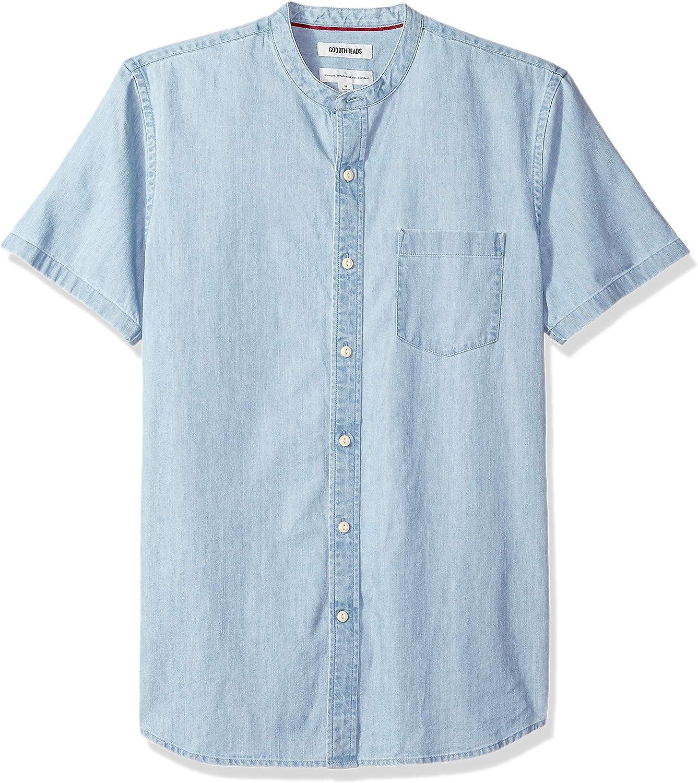 Marca Amazon - Goodthreads Standard-fit Short-Sleeve Band-Collar Denim