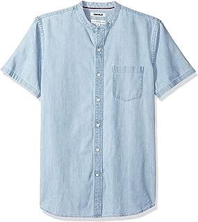 Goodthreads Men's Standard-Fit Short-Sleeve Band-Collar Denim Shirt