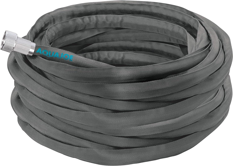 Aqua Joe AJFJH100-PRO Fiberjacket Garden Hose w/Metal Fittings and Twist Nozzle, 600 Max PSI Rating