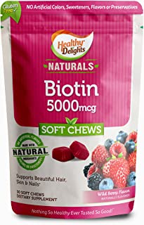 Healthy Delights Naturals, Biotin Soft Chews, Support and Nourishment for Lustrous Hair, Glowing skin, Strong nails, With ...