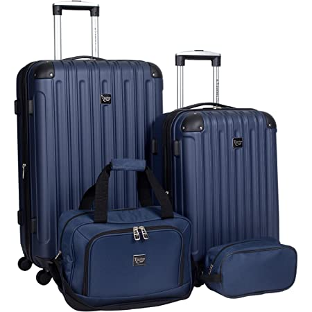 Travelers Club Midtown Hardside 4-Piece Luggage Travel Set, Navy Blue