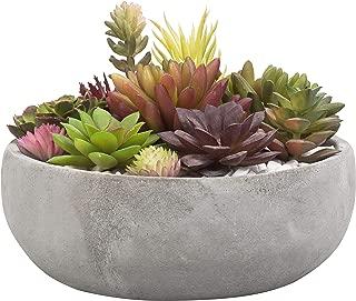 MyGift 8 Inch Decorative Round Grey Cement Succulent Planter