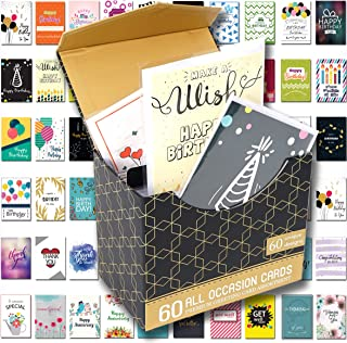 """60 Pack Birthday Cards w/Assorted All Occasion Greeting Cards - 60 UNIQUE DESIGN, BIG 5"""" x 7"""