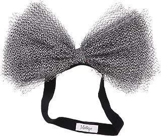 Metallic Mesh Baby Girl Bow Headband- Silver